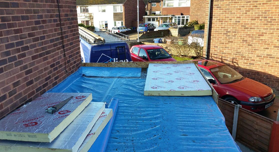 Warm Flat Roof in progress...